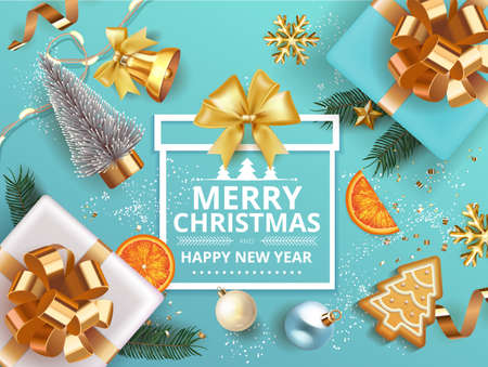 Winter Merry Christmas and Happy New Year banner with gift box decorated with Christmas tree branches, balls, gingerbread, oranges. bell snowflakes snow. Vector Xmas poster, festive greeting card.