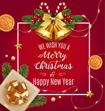 Vector stock We wish you a Merry Christmas and Happy New Year traditional classic design template. Jingle golden bells with bow, oranges, stars, fir tree and gift isolated on red Vector illustration.