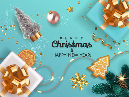 Merry Christmas and Happy New Year Xmas background with realistic blue gift box with fir tree, gold glitter confetti, gingerbread. Holiday banner, poster, greeting card. Advertising flyer brochure