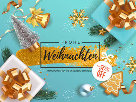 Winter German Frohe Weihnachten translate Merry Christmas Holiday banner with gift box decorated with Christmas tree branches, balls, gingerbread, oranges. bell snowflakes snow. Xmas festive card.