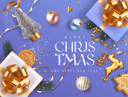 Merry Christmas and Happy New Year blue violet Holiday background with gift boxes with gold ribbon fir tree branches, christmass balls, gold deer and lights. Festive Xmas decoration in soft purple
