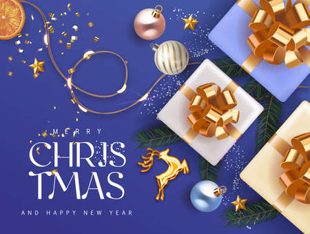 Merry Christmas and Happy New 2021 Year deep blue cyan Holiday background with gift boxes with gold ribbon fir tree branches christmas balls gold deer and lights. Festive Xmas decoration in blue