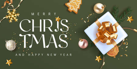 Merry Christmas and Happy New Year green Holiday background with white gift box with gold bow and fir tree , christmass balls, gold deer and lights. Festive Greeting Xmas decoration in green. Vector.