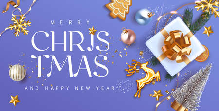 Merry Christmas and Happy New Year blue violet Holiday background with gift box with gold bow fir tree branches, christmass balls, gold deer and lights. Festive Xmas decoration in soft violet. Vector.