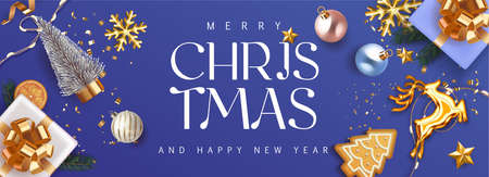 Merry Christmas and Happy New Year deep blue violet Holiday background with gift boxes with gold bow and fir tree , christmass balls, gold deer and lights. Festive Xmas decoration in violet. Vector