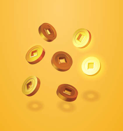 Realistic illustration of ancient Japanese or Chinese golden coins. Asian festival element set isolated on yellow background