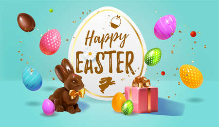 Beautiful modern Happy Easter banner with chocolate Easter rabbit, 3D Realistic Easter eggs, gifts and sweets. Chocolate bunny with bow and chocolate and colored eggs Holiday Happy Easter big hunt.