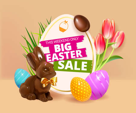 Big Easter Sale. Festive background design with realistic colorful eggs, easter chocolate bunny, rabbit with bow and easter eggs, tulips and grass. Holiday web banner Spring poster design template.