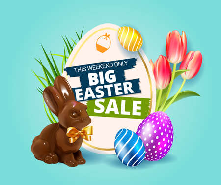 Big Easter Sale. Festive background design with realistic colorful eggs, easter chocolate bunny, rabbit with bow and easter eggs, tulips and grass. Blue Holiday web banner
