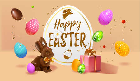 Happy Easter Festive background design with realistic colorful eggs, giftbox, easter chocolate bunny, rabbit with bow and colored and sweet easter eggs composition. Beige soft Holiday web banner