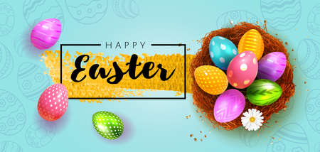 Festive Happy Easter Blue horizontal banner. Realistic 3d design elements. Spring holiday. Easter colored eggs in nest. Promotion sale and shopping template for Easter. Blue background. Vector.