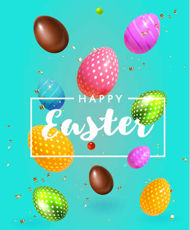 Beautiful modern Composition Happy Easter , 3D Realistic Easter flying eggs and sweets. Chocolate and colored eggs Holiday Happy Easter big hunt vector background.