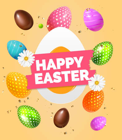 Happy Easter label Festive background design with realistic colorful eggs, chocolate sweet easter eggs composition. Beige soft Holiday greeting card