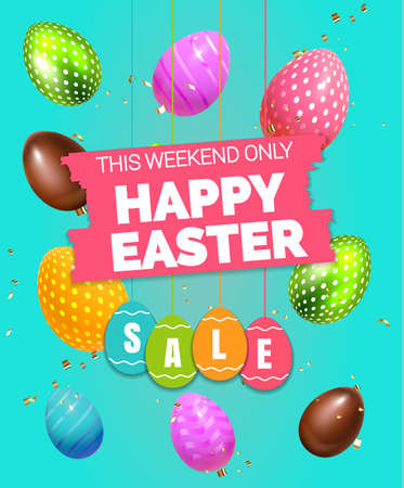 Beautiful modern Composition Happy Easter Sale label , 3D Realistic Easter flying eggs and sweets. Chocolate and colored eggs Holiday Happy Easter big hunt vector background Illustration