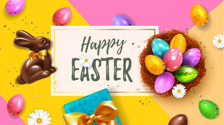 Festive yellow Happy Easter Blue horizontal web banner. Realistic 3d Spring holiday. Easter colored eggs in nest with rabbit ears and chocolate bunny. Promotion sale and shopping template for Easter. Illustration