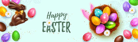 Festive Happy Easter Blue horizontal web banner. Realistic 3d Spring holiday. Easter colored eggs in nest with rabbit ears and chocolate bunny. Promotion sale and shopping template for Easter.