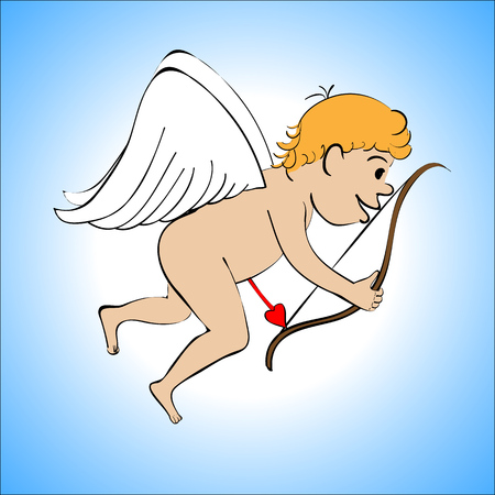 Cupid color on a blue background Stock Photo