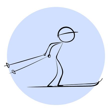Stick Skier vector icon