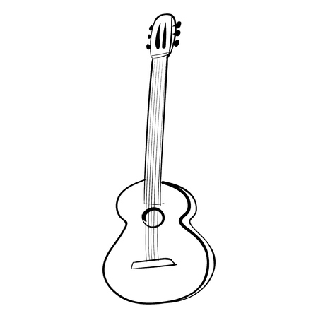 Guitar acoustics vector icon black and white art. Illustration