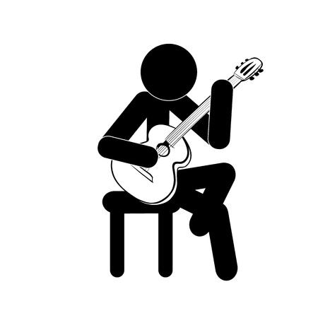 Stick figure man playing classic guitar vector Illustration