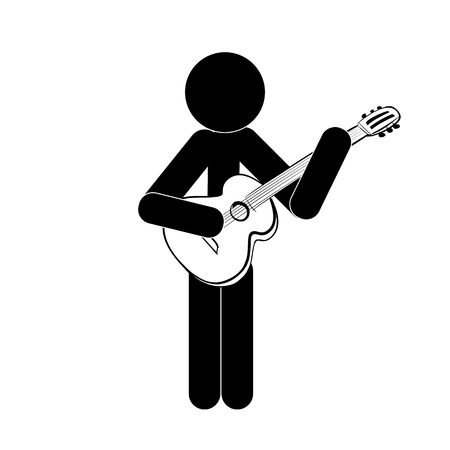 Stick figure man stands and plays the classical guitar