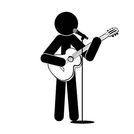 Stick man stands, plays the guitar, sings into a microphone