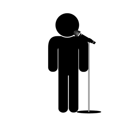 ceo: stick man say into microphone Illustration