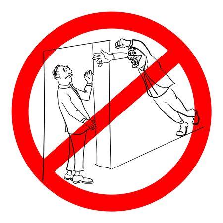 sign no pranks stick vector cartoon funny