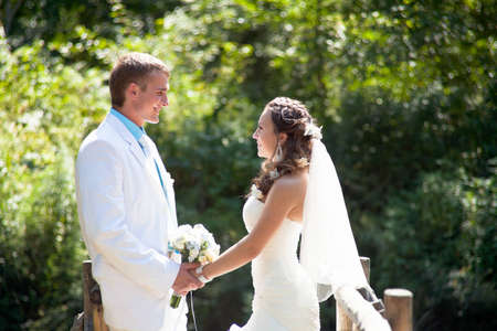 Wedding - happy bride and groom Stock Photo - 12359111