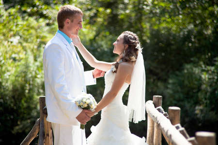 Wedding - happy bride and groom Stock Photo - 12359113