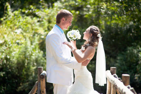 Wedding - happy bride and groom Stock Photo - 12359112