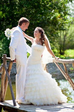 Wedding - happy bride and groom Stock Photo - 12359114