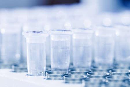 amplification: Close-up de la plaque de cuisson r�acteur PCR avec le tableau de tubes � essai contenant de l'ADN pr�lev� pour la r�action en cha�ne par polym�rase