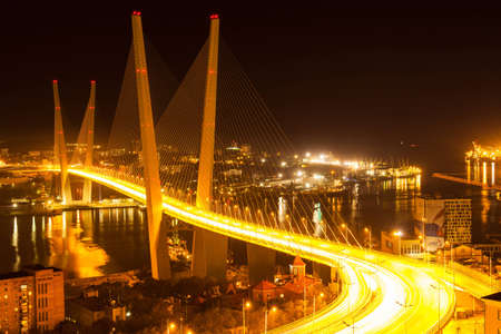 The Golden Bridge, cable-stayed bridge over Golden Horn Bay, Vladivostok, Russia, at night