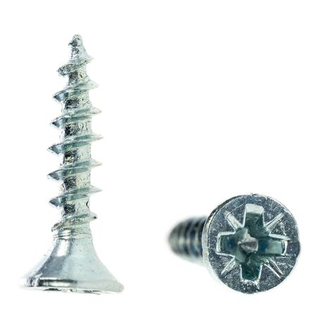consumable: two flat head zinc coated tapping screws, philips slot, isolated close up