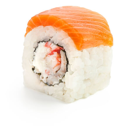 Japanese roll with crab, salmon and cream cheese - isolated over white - with shadow Stock Photo