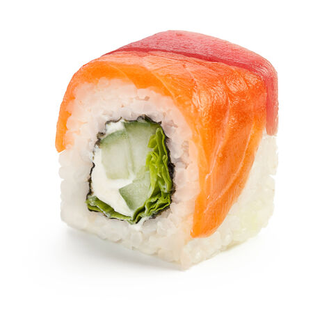 Japanese roll with salmon, tuna, salad and cucumber - isolated over white - with shadow