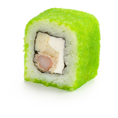 Japanese roll with prawn, cream cheese, tomago omelet, green caviar - isolated over white - with shadow