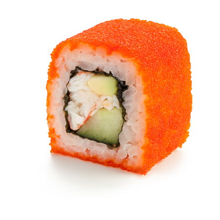 Japanese California roll with crab meat, mayonnaise, cucumber, avocado, caviar - isolated over white - with shadow