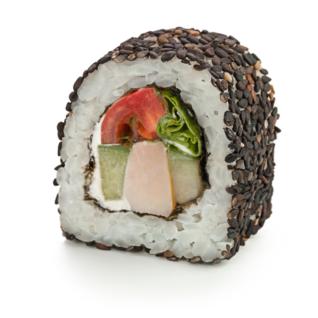 Japanese roll with smoked chicken, cucumber, tomato, cream cheese, salad, sesame  - isolated over white - with shadow