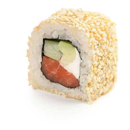 Philadelphia Japanese roll with smoked salmon, cucumber, cream cheese, sesame seed - isolated over white - with shadow Stock Photo