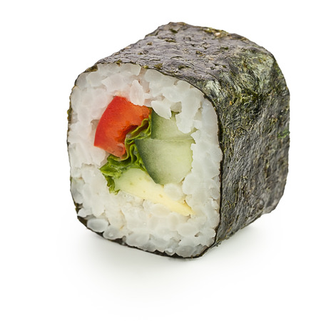 Yasai maki Japanese roll with vegetables - isolated over white - with shadow