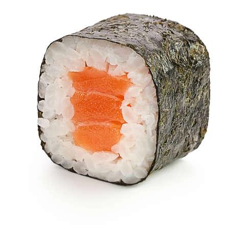 japanese sake: Sake Maki Rodillo del japonés con salmón - aislados en blanco - con la sombra
