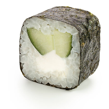 Mitaki Japanese roll with cucumber and cream cheese - isolated over white - with shadow