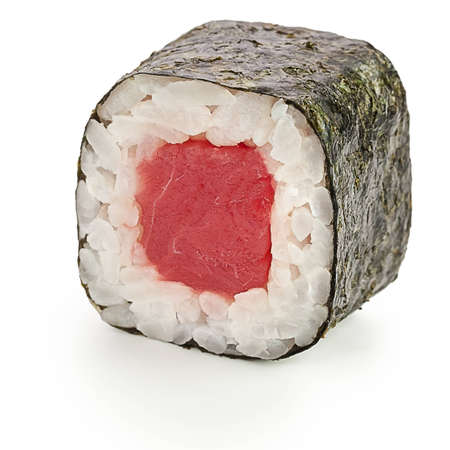 Maguro maki Japanese roll with tuna - isolated over white - with shadow