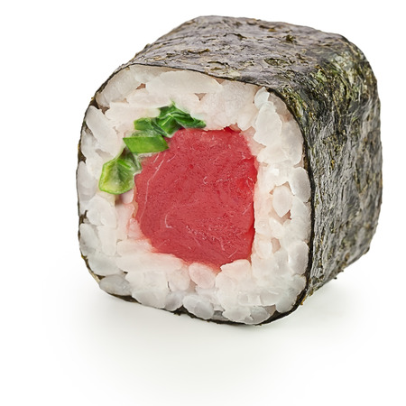 Japanese roll with tuna, green onion, mayonnaise - isolated over white - with shadow