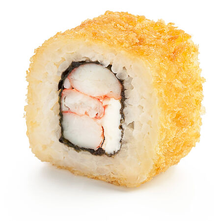 Deep fried Japanese roll with crab, shrimp, cream cheese and crispy breading - isolated over white - with shadow