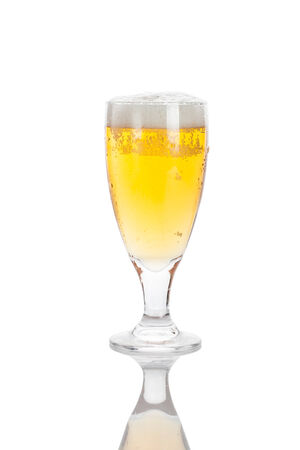 glass of beer with foam, isolated over white, with pure reflection