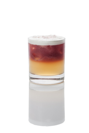 misted over glass of new york sour cocktail, with natural reflection, isolated with clipping path Stock Photo