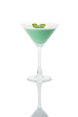 grasshopper cocktail in martini glass served with a mint leaf, isolated with clipping path Stock Photo